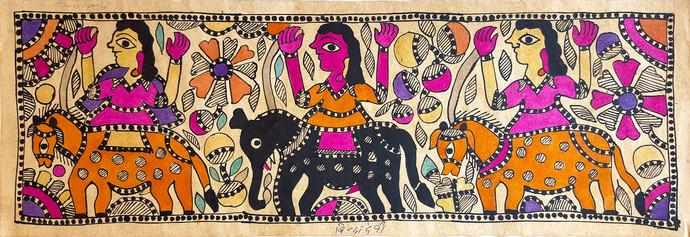 Raja Salhesa's Troupe by Yamuna Devi, Folk Painting, Water Based Medium on Paper, Brown color