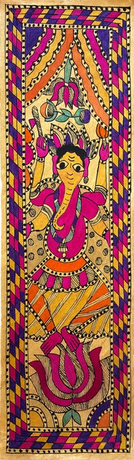 The Dancing Ganesha by Yamuna Devi, Folk Painting, Water Based Medium on Paper, Brown color