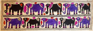 Gentle Giants by Yamuna Devi, Folk Painting, Water Based Medium on Paper, Brown color