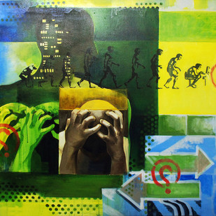 Evolution by Soumitra Adhikary, Conceptual Painting, Acrylic on Canvas, Green color