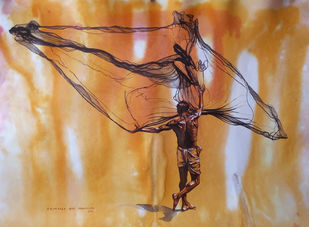 FisherMan by Sreenivasa Ram Makineedi, Realism Painting, Watercolor on Paper, Brown color