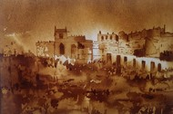 Golconda Fort Hyderabad (Coffee Painting) by Amit Dewhare, Impressionism Painting, Water Based Medium on Paper, Brown color