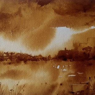 Rainy clouds (Coffee Painting) by Amit Dewhare, Impressionism Painting, Water Based Medium on Paper, Brown color