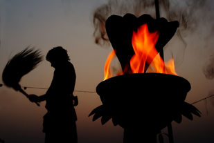 Ganga Aarti by Subhajit Dutta, Image Photography, Digital Print on Canvas, Brown color