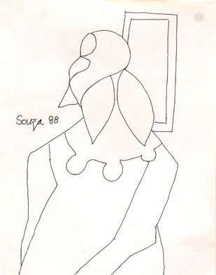 Untitled by F N Souza, Illustration Drawing, Ink on Paper, White color