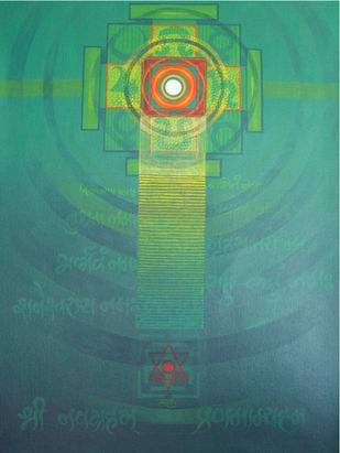 NAVAGRAHA 2 by PRADNYA DHANANJAY KALE, Abstract Painting, Acrylic on Canvas, Green color