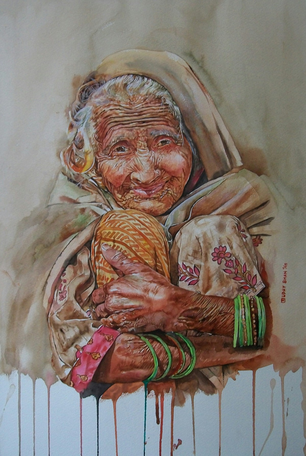 Undefined cuteness by Uday Bhan, Realism, Realism Painting, Watercolor on Paper, Brown color