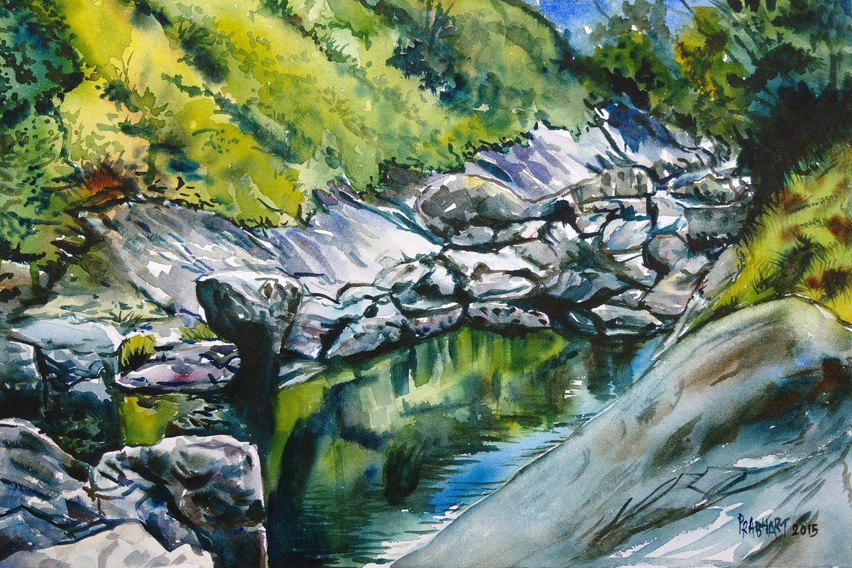 Glittering rocks by Prabhakaran, Realism Painting, Watercolor on Paper, Green color