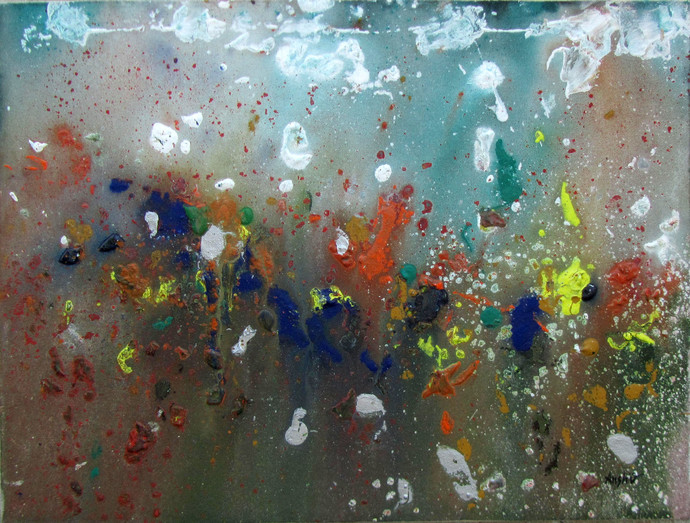 Wild Flowers by Anshu, Abstract, Abstract Painting, Acrylic on Canvas, Brown color