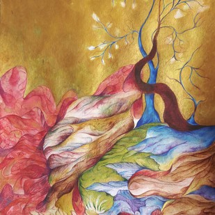 Bejeweled Spring by Manisha Gera Baswani, Expressionism Painting, Gouache on Board, Brown color