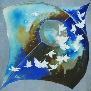 Kite and birds play by shiv kumar soni, Expressionism Painting, Acrylic on Canvas, Cyan color