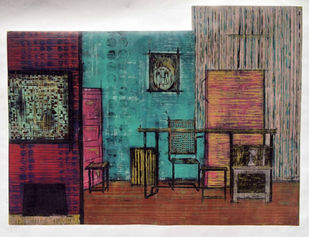 DEPARTMENT COBWEB by avni, Expressionism Printmaking, Wood Cut on Paper, Brown color