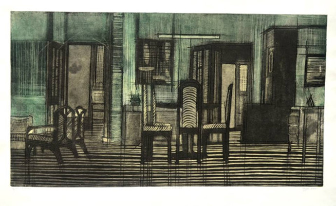 HOME COBWEB by avni, Realism Printmaking, Etching on Paper, Green color