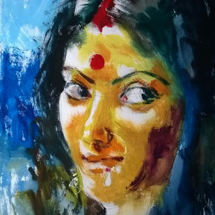 Lakhi by Santosh Keshari , Expressionism Painting, Watercolor on Paper, Blue color