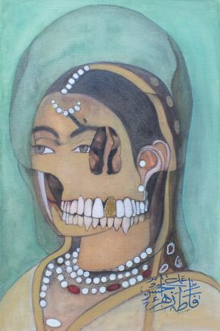 Annihilation (Lady)- V by F. Zahra, Op Art Painting, Watercolor on Paper, Cyan color