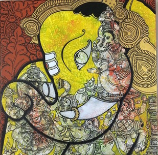 untiteled by Ramesh Gorjala, Decorative Painting, Acrylic & Ink on Canvas, Brown color