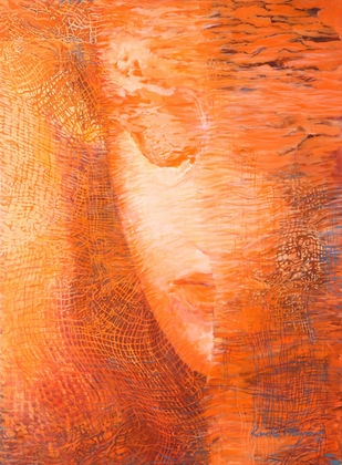 Untitled by Kavita Nayar , Impressionism Painting, Oil on Canvas, Orange color