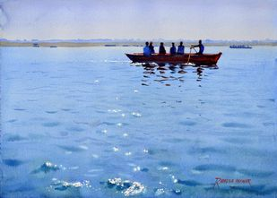 Sparkling Ganges # 2 by Ramesh Jhawar, Realism Painting, Watercolor on Paper, Cyan color