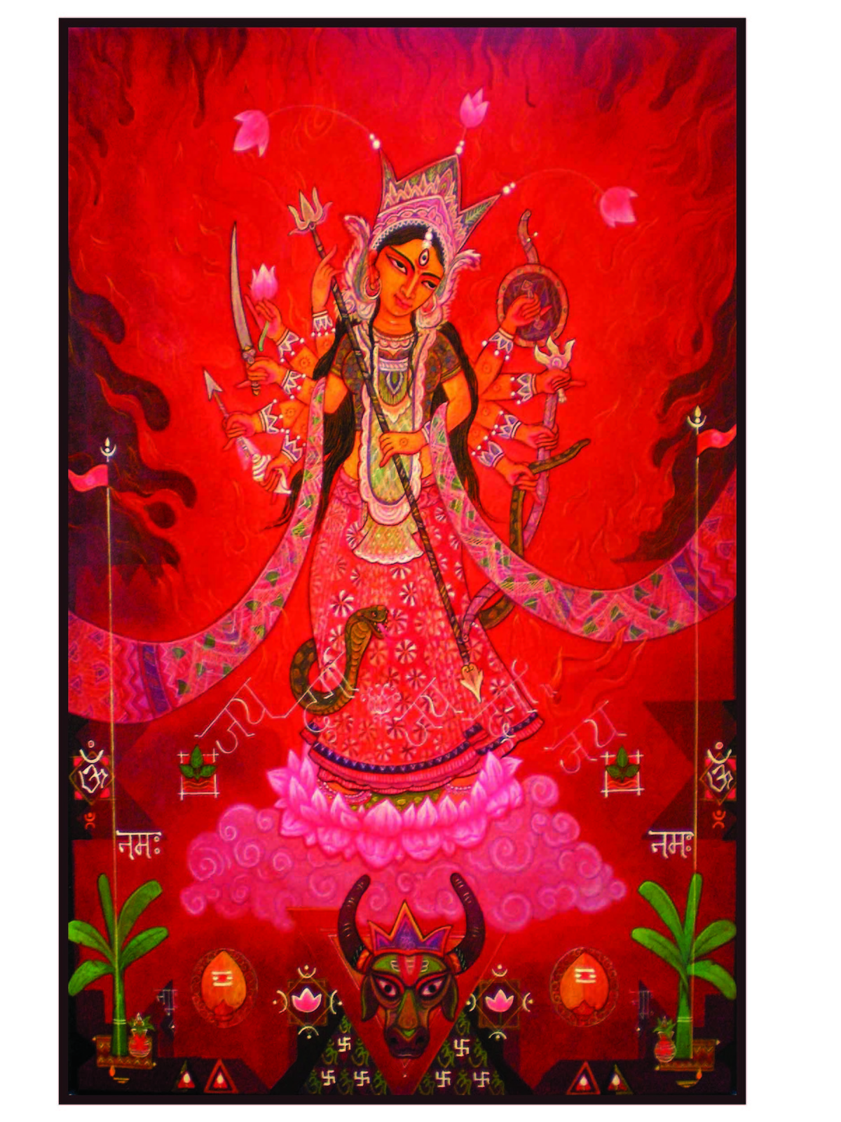 Devi Durga By Artist Atin Mitra Decorative Painting