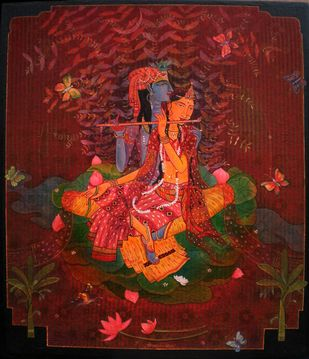 BASANT BAHAR 5 by Atin Mitra, Decorative Painting, Mixed Media on Canvas, Brown color