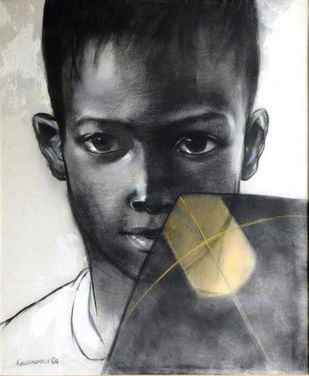 The Boy by Kanchanmala Ghosh, Realism Painting, Charcoal on Canvas, Gray color