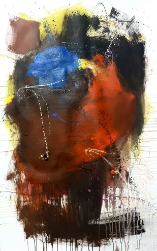 Senses by Gulrez Ali, Abstract Painting, Acrylic & Ink on Paper, Brown color