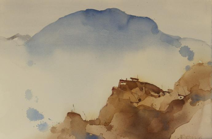 Memories of Dhankar monastery by Prashant Prabhu, Impressionism Painting, Watercolor on Paper, Beige color