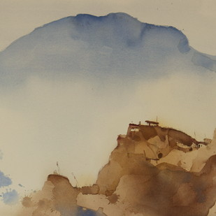 Memories of Dhankar monastery by Prashant Prabhu, Impressionism Painting, Watercolor on Paper, Beige color