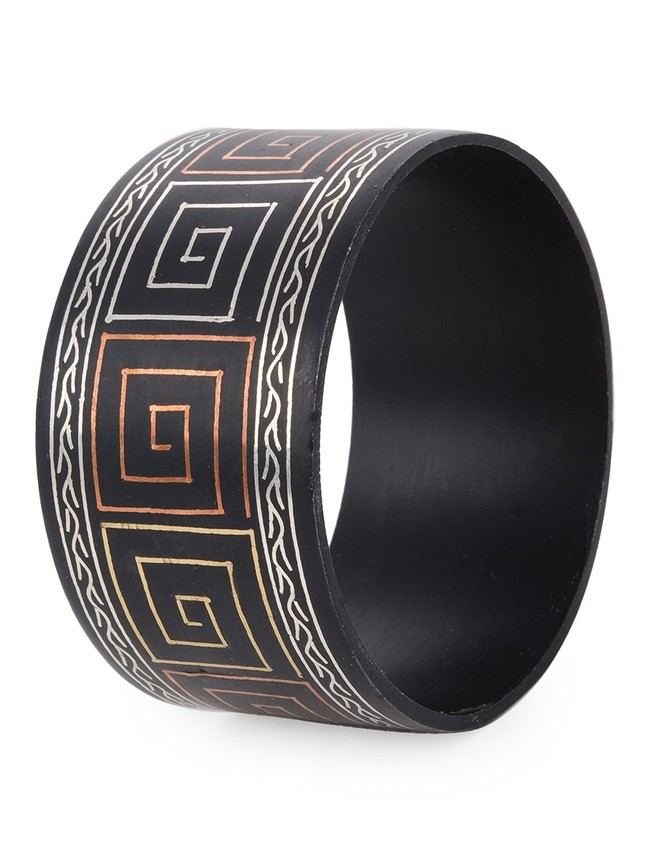 Broad Bangle with Copper Brass and Silver Inlay by Bidriwala, Bangle