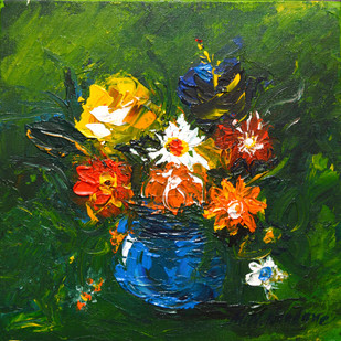Still Phools by Mahesh Nandane, Impressionism Painting, Acrylic on Canvas, Green color