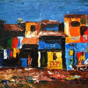 Sach Ka Nagar by Mahesh Nandane, Impressionism Painting, Acrylic on Canvas, Brown color