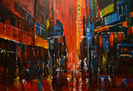 Reflective Escaltion by Mahesh Nandane, Impressionism Painting, Acrylic on Canvas, Brown color
