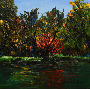 Crimson Within Verdant by Mahesh Nandane, Impressionism Painting, Acrylic on Canvas, Green color