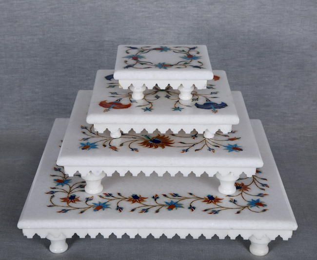 Floral Inlay White Marble Stools Curio By Carved Additions