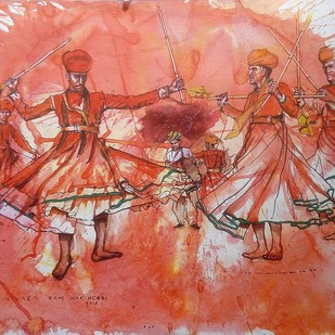Rajasthani Folk dancers by Sreenivasa Ram Makineedi, Expressionism Painting, Watercolor on Paper, Brown color