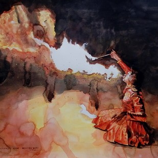 Fire Eater by Sreenivasa Ram Makineedi, Expressionism Painting, Watercolor on Paper, Brown color