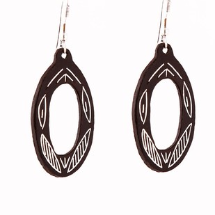 Oval Bidri Earrings by Bidriwala, Contemporary Earring