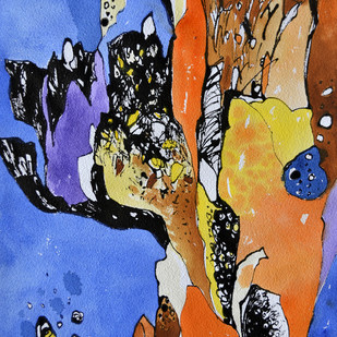 Nature 1 by Krishna Pulkundwar, Abstract Painting, Mixed Media on Paper, Blue color