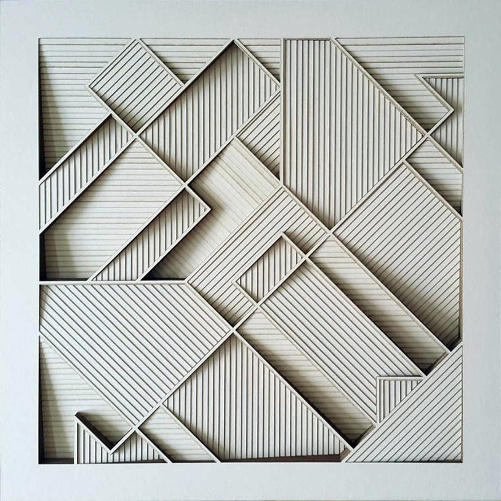 Construction 001b Paper Cut Relief Sculpture By Artist S