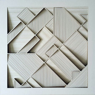 Construction 001B - Paper Cut Relief Sculpture by S. Ravi Shankar, Abstract Sculpture | 3D, Formed Paper, Gray color