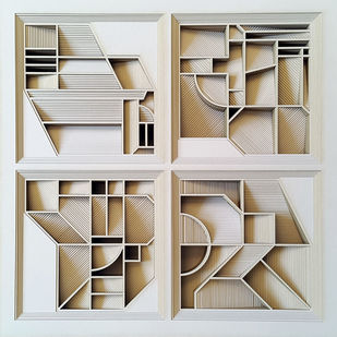 Construction 025A - Paper Cut Relief Sculpture by S. Ravi Shankar, Abstract Sculpture | 3D, Formed Paper, Gray color