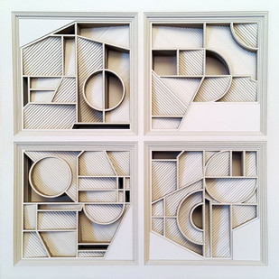 Construction 026A - Paper Cut Relief Sculpture by S. Ravi Shankar, Abstract Sculpture | 3D, Formed Paper, Gray color