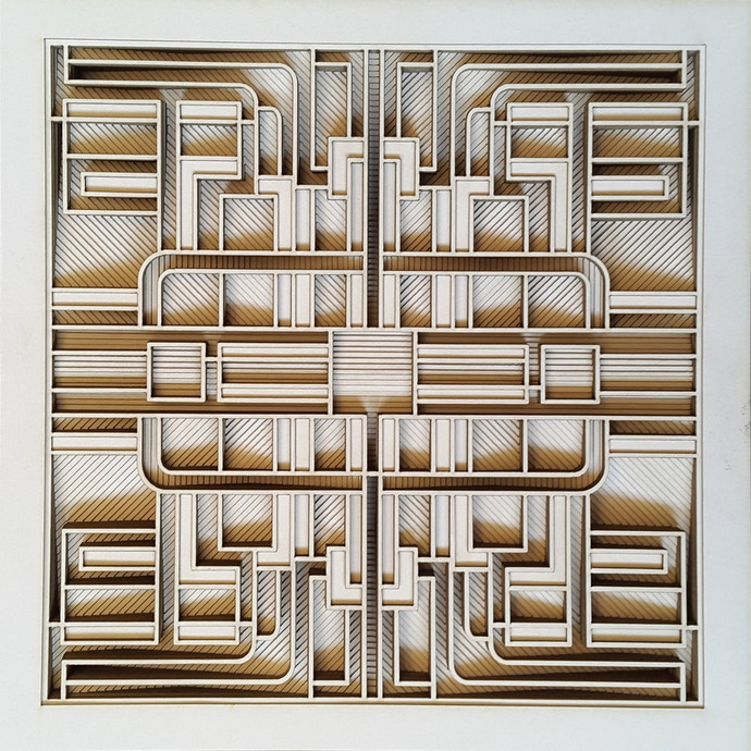 Construction 029A - Paper Cut Relief Sculpture by S. Ravi Shankar, Abstract Sculpture | 3D, Formed Paper, Brown color