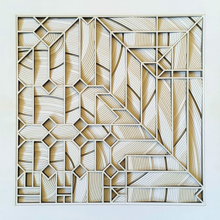 Construction 032A - Paper Cut Relief Sculpture by S. Ravi Shankar, Abstract Sculpture | 3D, Formed Paper, Beige color