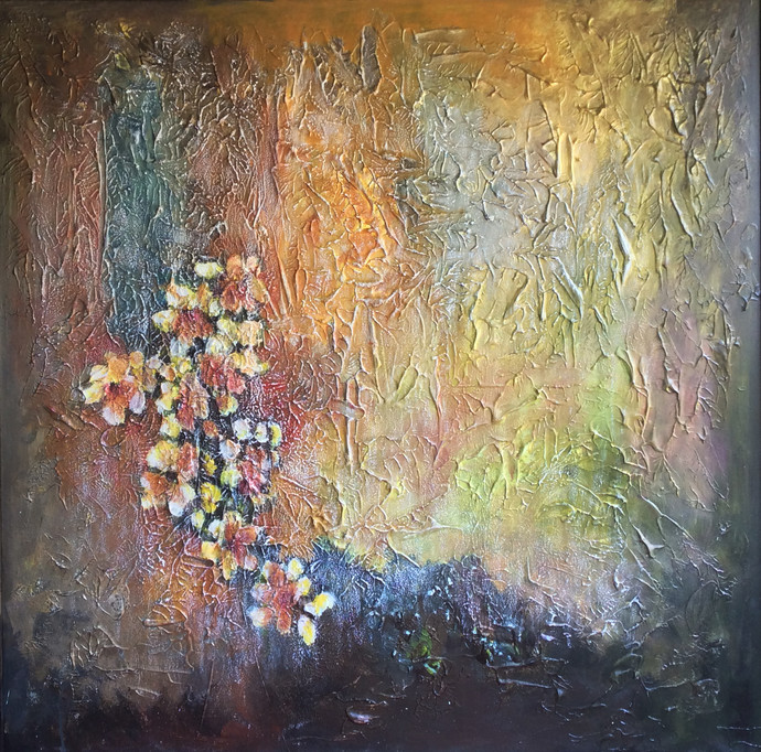 Frozen Rainbow by Shan Re, Impressionism Painting, Acrylic on Canvas, Brown color
