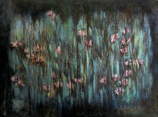 Rain Song 2 by Shan Re, Impressionism Painting, Acrylic on Canvas, Gray color