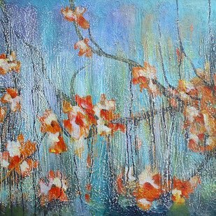 Blooming Budlet by Shan Re, Impressionism Painting, Acrylic on Canvas, Green color