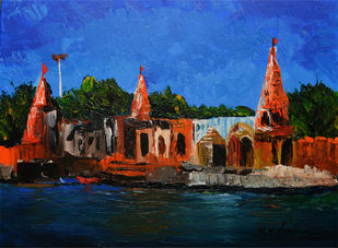 tranquil Pandharpur by Mahesh Nandane, Impressionism Painting, Acrylic on Canvas, Blue color