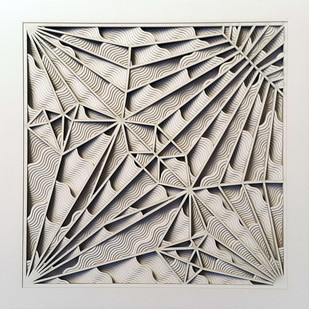 Construction 031A, PAPER CUT RELIEF SCULPTURE by S. Ravi Shankar, Abstract Sculpture | 3D, Formed Paper, Gray color