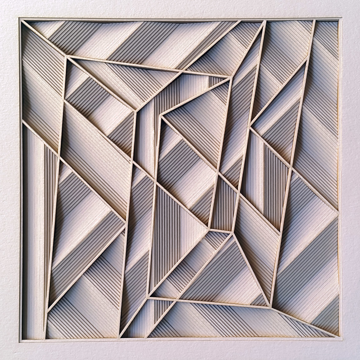 Construction 037A, PAPER CUT RELIEF SCULPTURE by S. Ravi Shankar, Abstract Sculpture | 3D, Formed Paper, Gray color